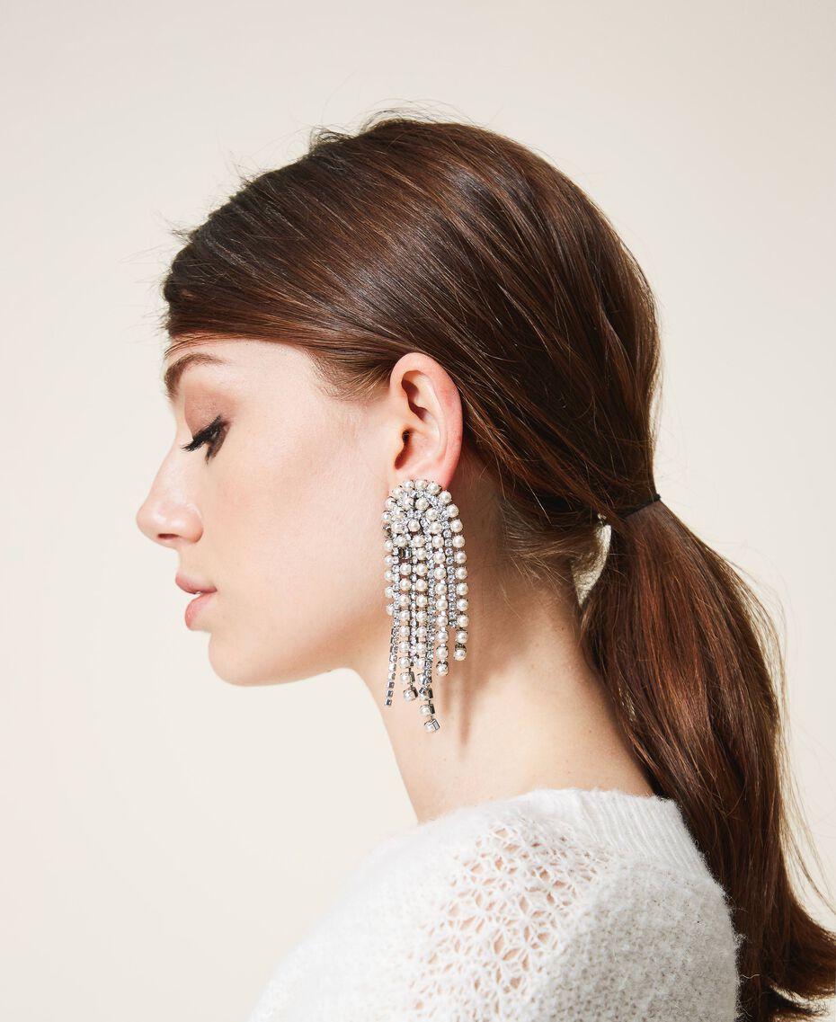 Ohrringe mit Strass und Perlen Kristall Frau 202TA4312-0S