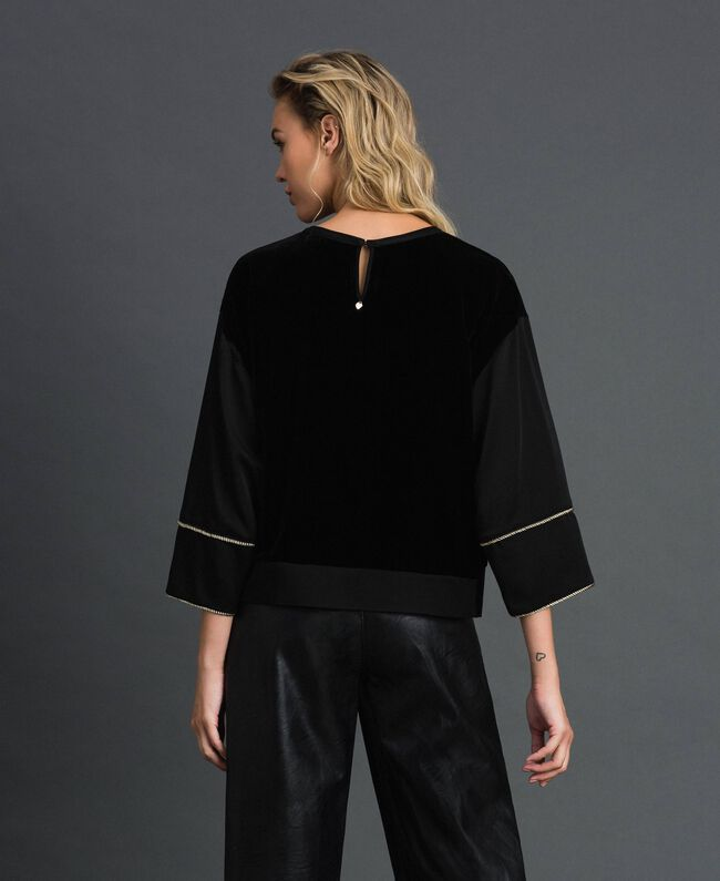 Blouse brodée en velours et cady Noir Femme 192TT2422-03