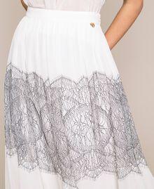 Jupe longue plissée avec dentelle bicolore Blanc Neige Femme 201TT2144-04