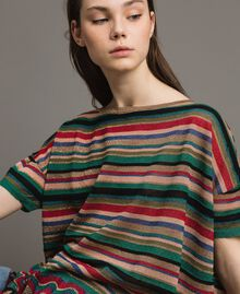 Pull oversize rayé en lurex Rayures Multicolores Femme 191ST3141-01