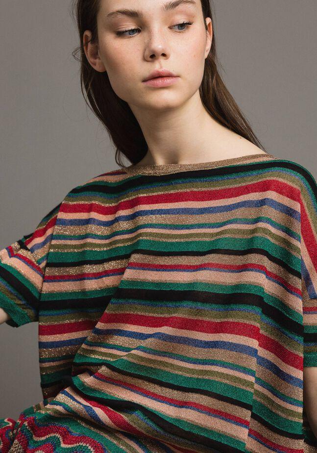 Maxi maglia a righe lurex
