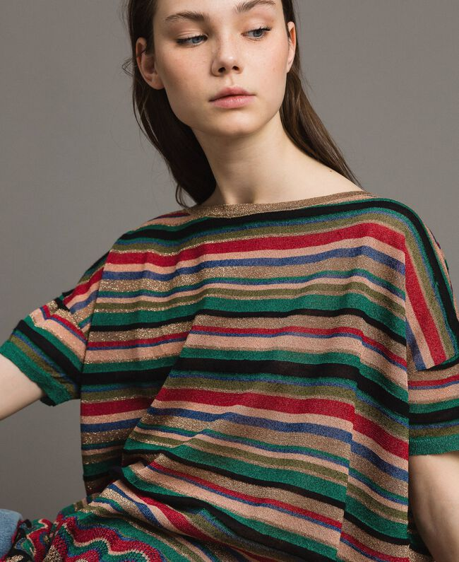 Maxi striped lurex jumper Multicolour Striping Woman 191ST3141-01