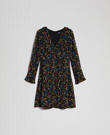 Kleid mit Blumenprint Mikroblumenprint Schwarz Frau 192MP2228-0S