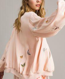 """Satin-Bomberjacke mit Schmetterlings-Stickerei """"Rose Sand"""" Pink Frau 191TT2111-02"""