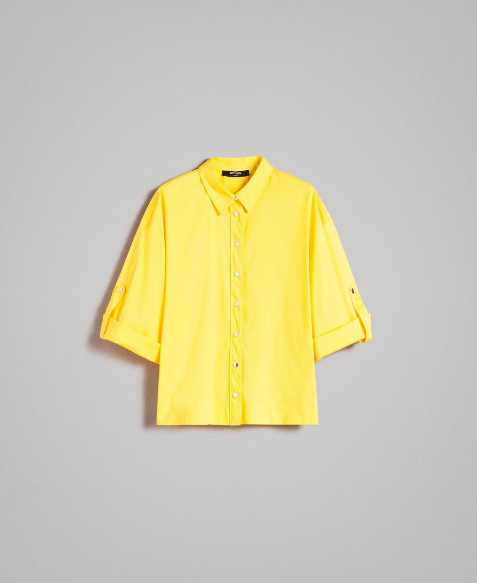 "Poplin boxy shirt ""Freesia"" Yellow Woman 191MP2211-0S"