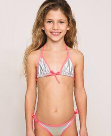 "Iridescent fabric bikini Two-tone ""Aurora Borealis"" Silver / Fluo Fuchsia Child 201GJM90G-01"