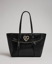 Faux leather shopping bag with studs and tassel Black Woman 192MO8010-03