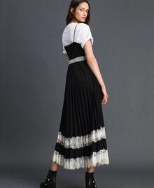 """Платье-комбинация с кружевом Двухцветный Черный / Белый """"Снег"""" женщина 192TP2282-03"""