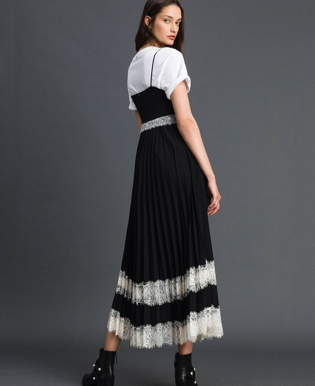 Robe nuisette avec dentelle Bicolore Noir / Blanc Neige Femme 192TP2282-03