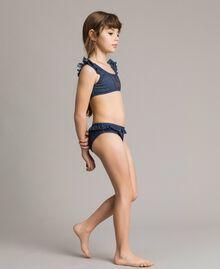 Bikini mit Rüschen und Strass-Schmetterling Dunkler Denim Kind 191GJM902-0S