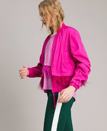 """Technical fabric bomber jacket with feathers """"Electric Pink"""" Fuchsia Woman 191TP2011-02"""