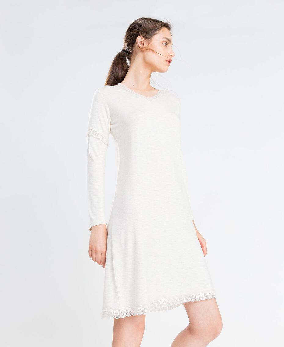 Nachthemd aus Jersey Elfenbeinmelange Frau LA8BEE-0S
