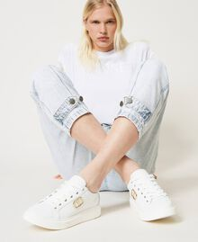 Sneakers con logo Bianco Donna 211TCT01A-0S