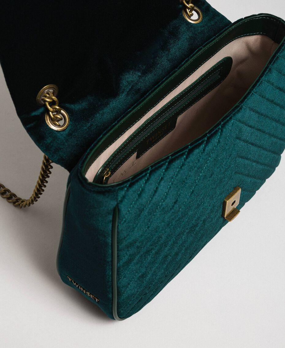 Quilted velvet shoulder bag Dark Green Woman 192TA7090-05