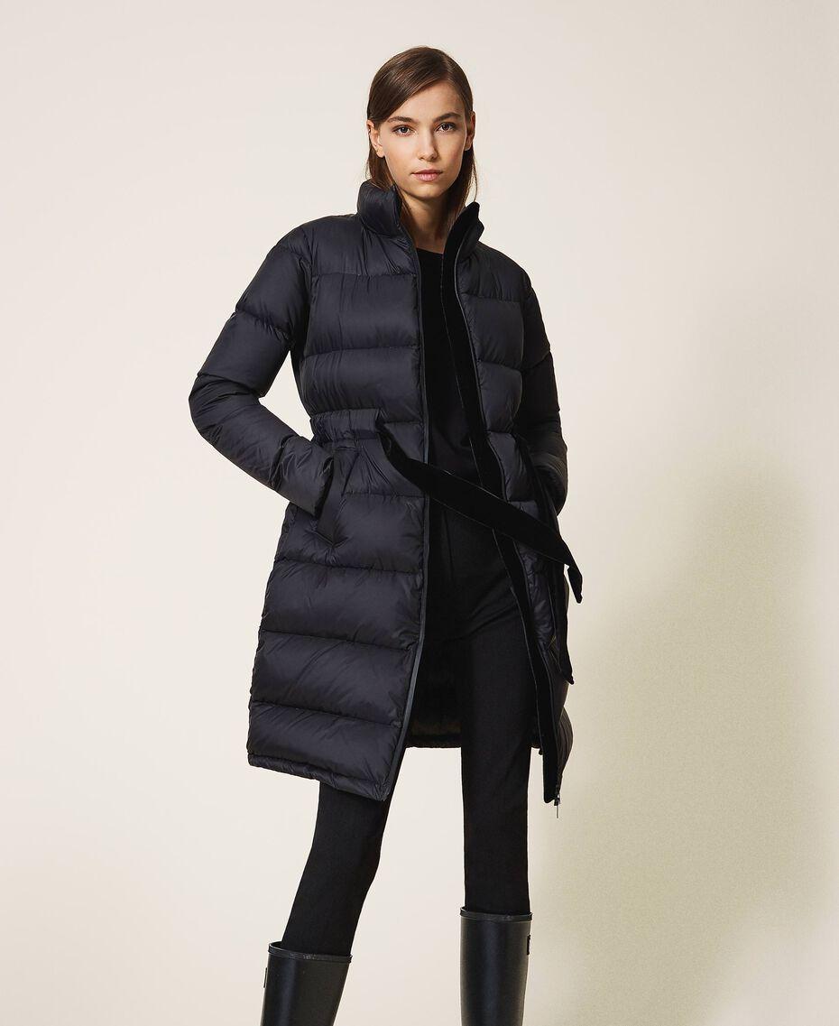 Long puffer jacket with velvet drawstring Black Woman 202MP2541-02