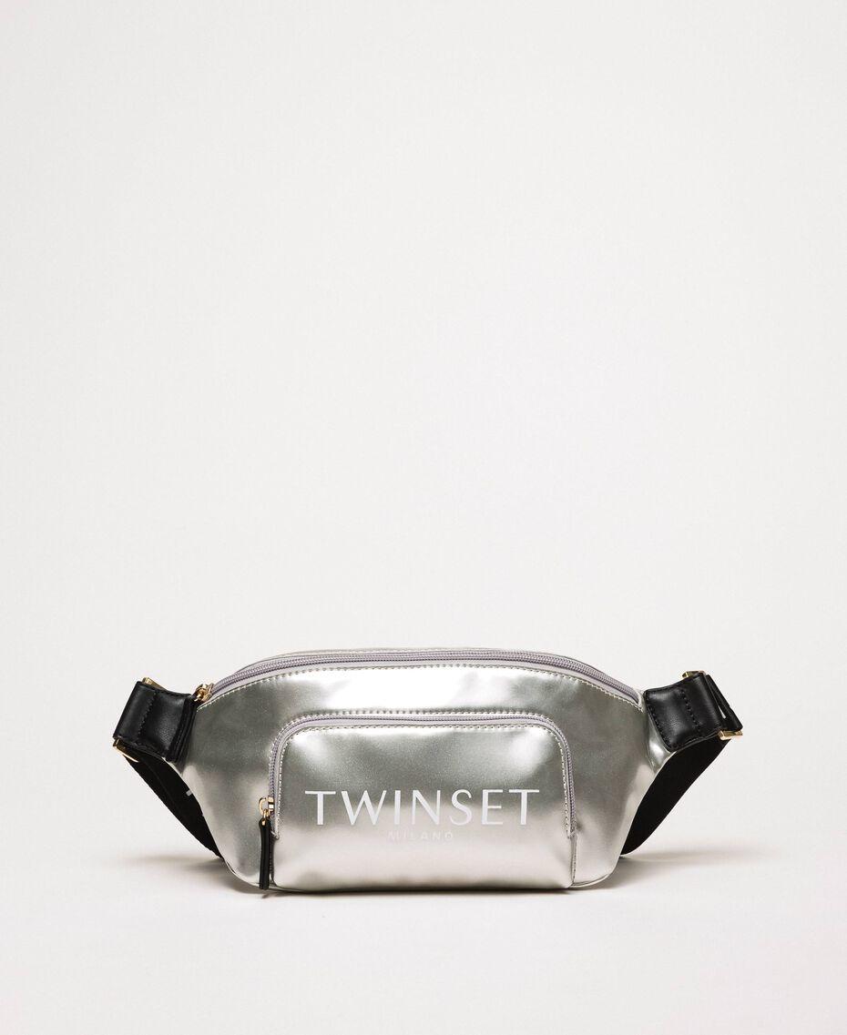 Vinyl effect faux leather belt bag Titanium Gray Woman 201TA7179-01