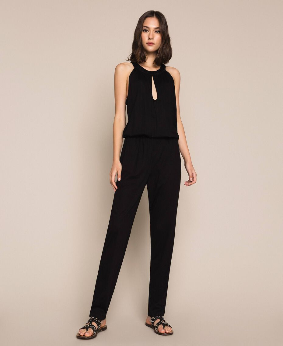Jumpsuit with sequins Black Woman 201LB2CHH-02