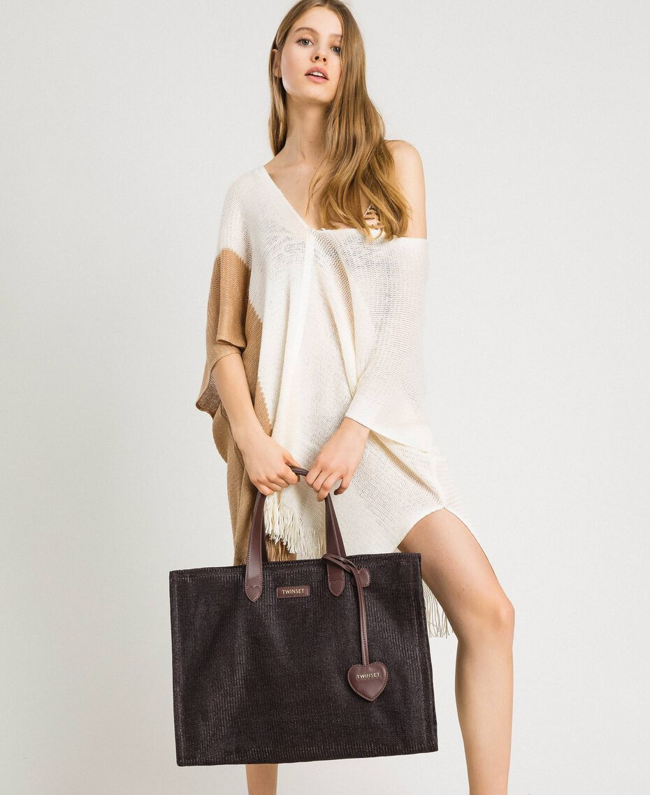 Oversized straw-effect shopping bag Dark Brown Woman 191LM4ZCC-0S