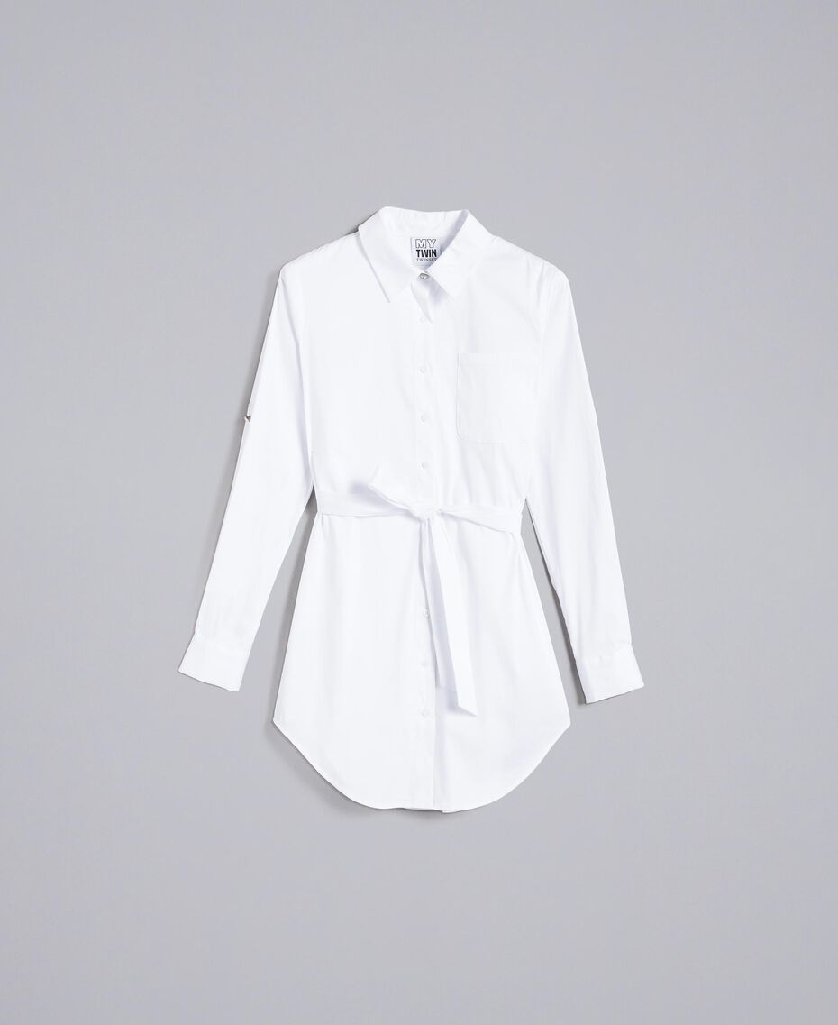"Stretch poplin long shirt ""Ice"" White Woman JA82JA-0S"