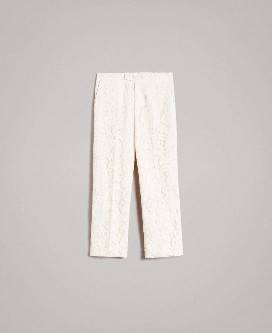 Pantaloni cropped in pizzo macramè Bianco Neve Donna 191TP2255-0S