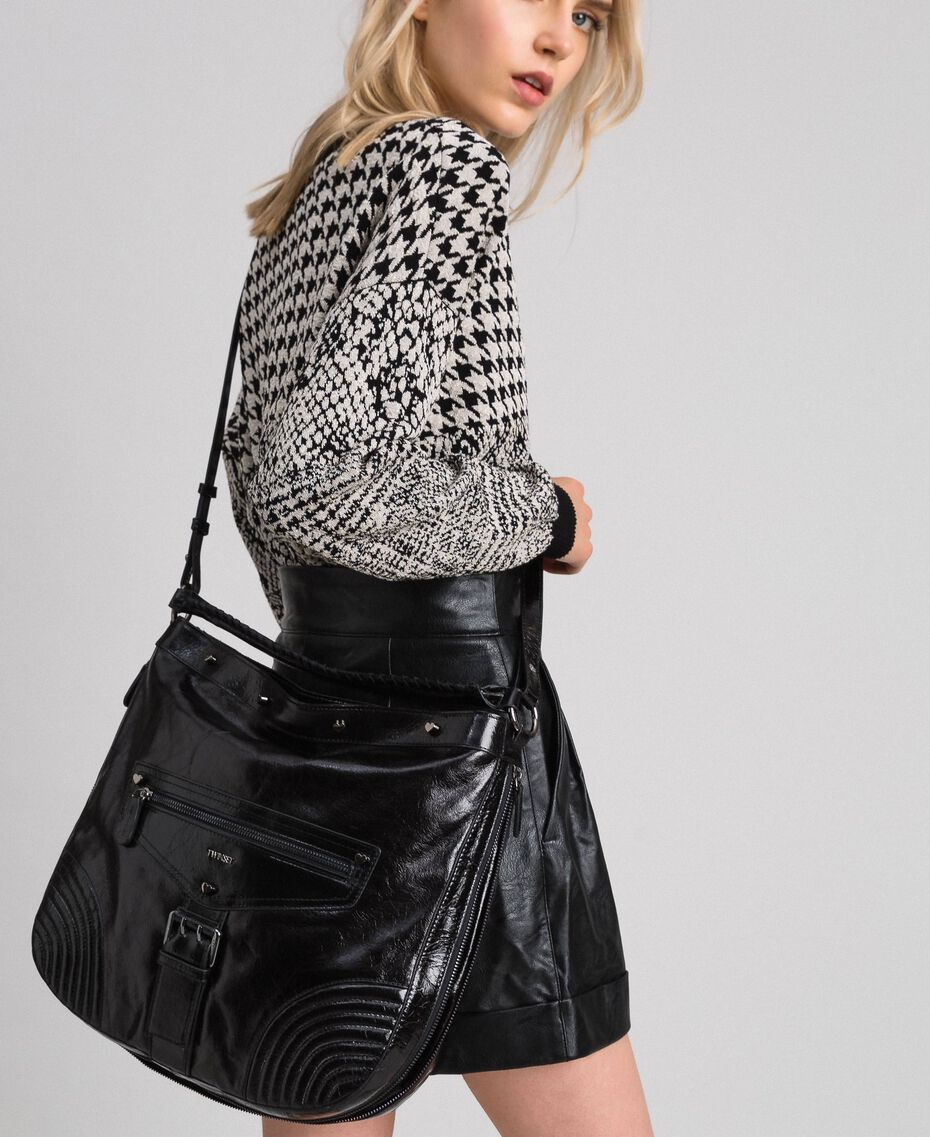 Crackled effect leather hobo bag with studs Black Woman 192TA7236-0S