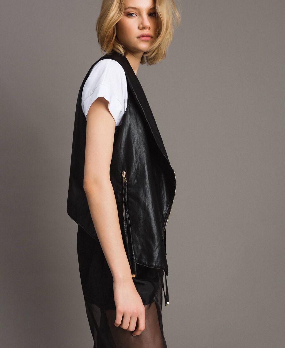 Faux leather zipped waistcoat Black Woman 191MT2280-02