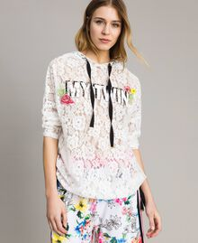 Lace maxi sweatshirt with logo and embroideries White Woman 191MT2241-02
