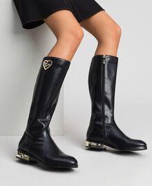 Bottes avec logo et talon décoratif Noir Femme 192MCP022-0S