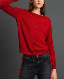 Cardigan en angora mélangé avec tulle et dentelle Rouge Ardent Femme 192LL3CSS-03