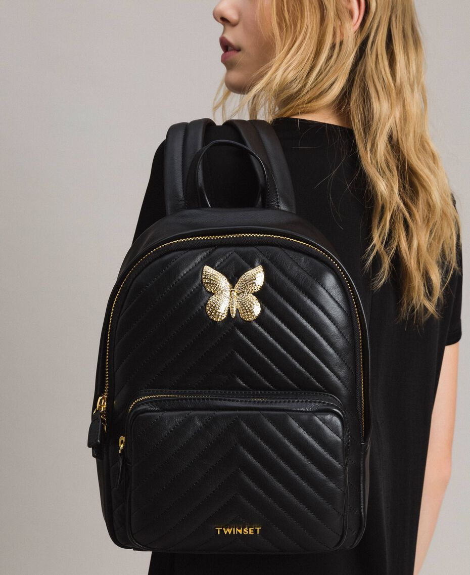 Matelassé leather backpack Black Woman 191TA7192-0S