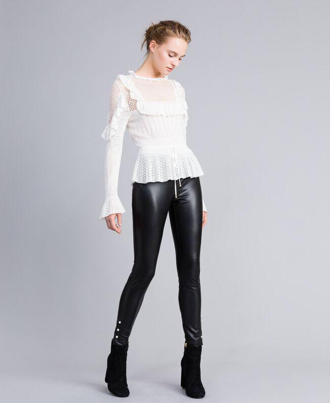 Leggings aus Lederimitat mit Perlen Schwarz Frau PA82AB-01