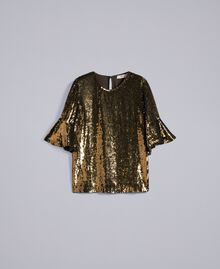 "Blusa in full paillettes Verde ""Military"" Gold Donna TA82DB-0S"