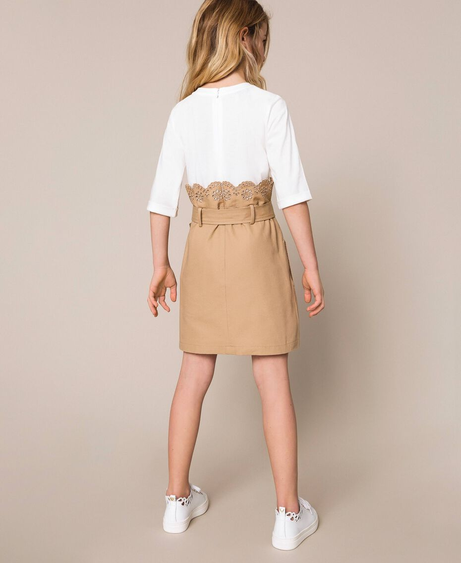 """Canvas dress with broderie anglaise Two-tone Off White / """"Dune"""" Beige Child 201GJ2152-03"""