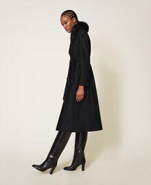 Manteau en drap de cachemire mélangé Noir Femme 202TT214A-04