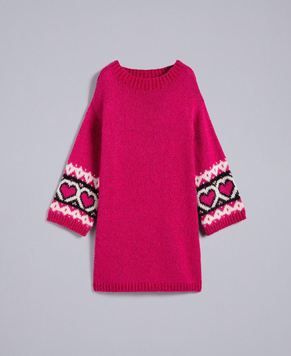 Kleid mit Jacquardherzen Kirschrot-Fuchsia Frau YA8313-0S