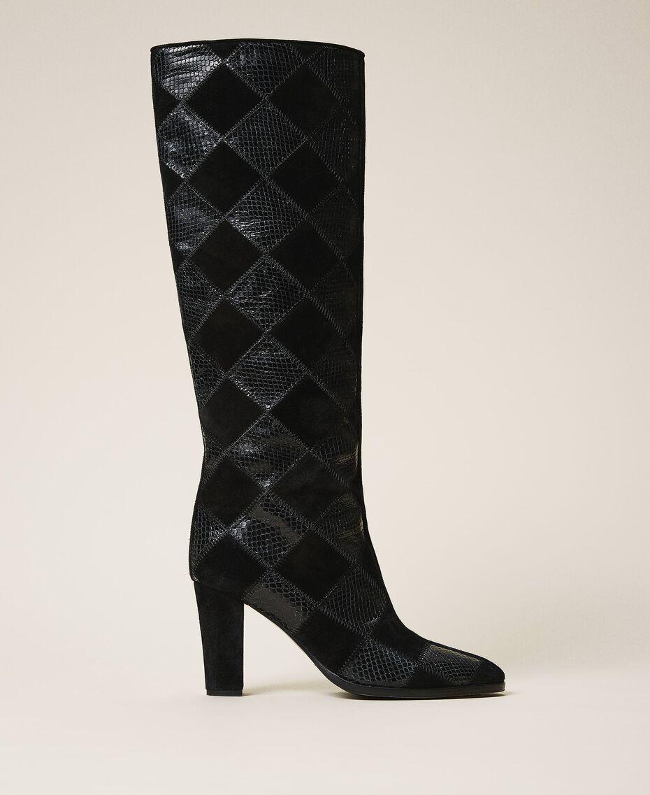 Stiefel aus Leder mit Rautendessin Zweifarbige Rauten Schwarz / Schwarz Frau 202TCT150-01