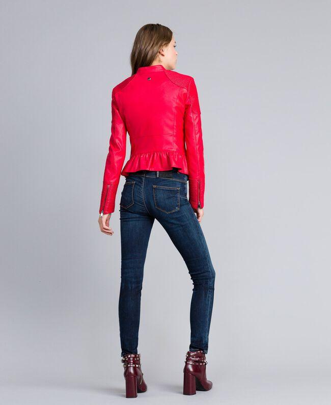 Veste biker en similicuir Rouge Coquelicot Femme JA82DG-03