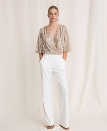 Jumpsuit with criss-cross and sequins Ivory Woman 201LB21CC-01