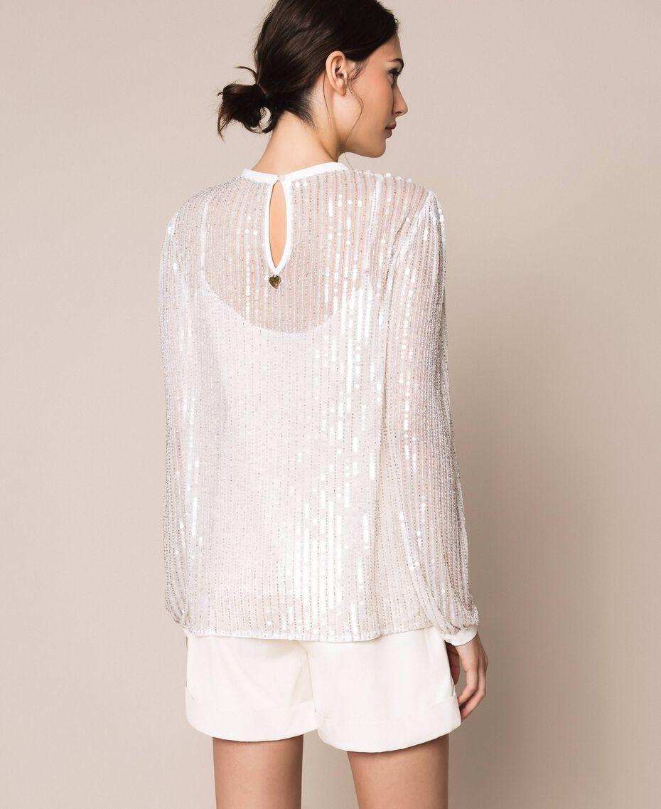 Блуза из тюля, полностью расшитая пайетками Слоновая кость женщина 201TP2050-03