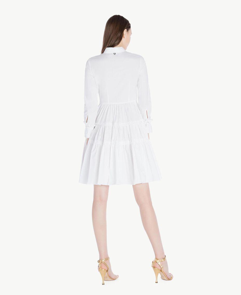 Kleid aus Popeline Weiß Frau TS821X-03