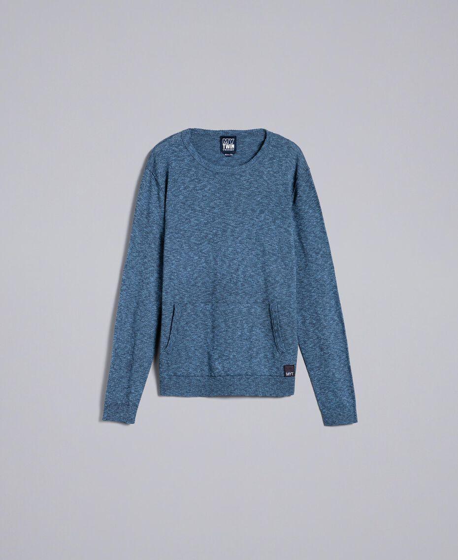 Jersey de algodón y lana Bicolor Gris Antracita / Azul Denim Hombre UA83BB-0S