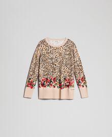 Pull avec imprimé animalier et floral Imprimé Léopard / Fleur Enfant 192GJ3181-0S