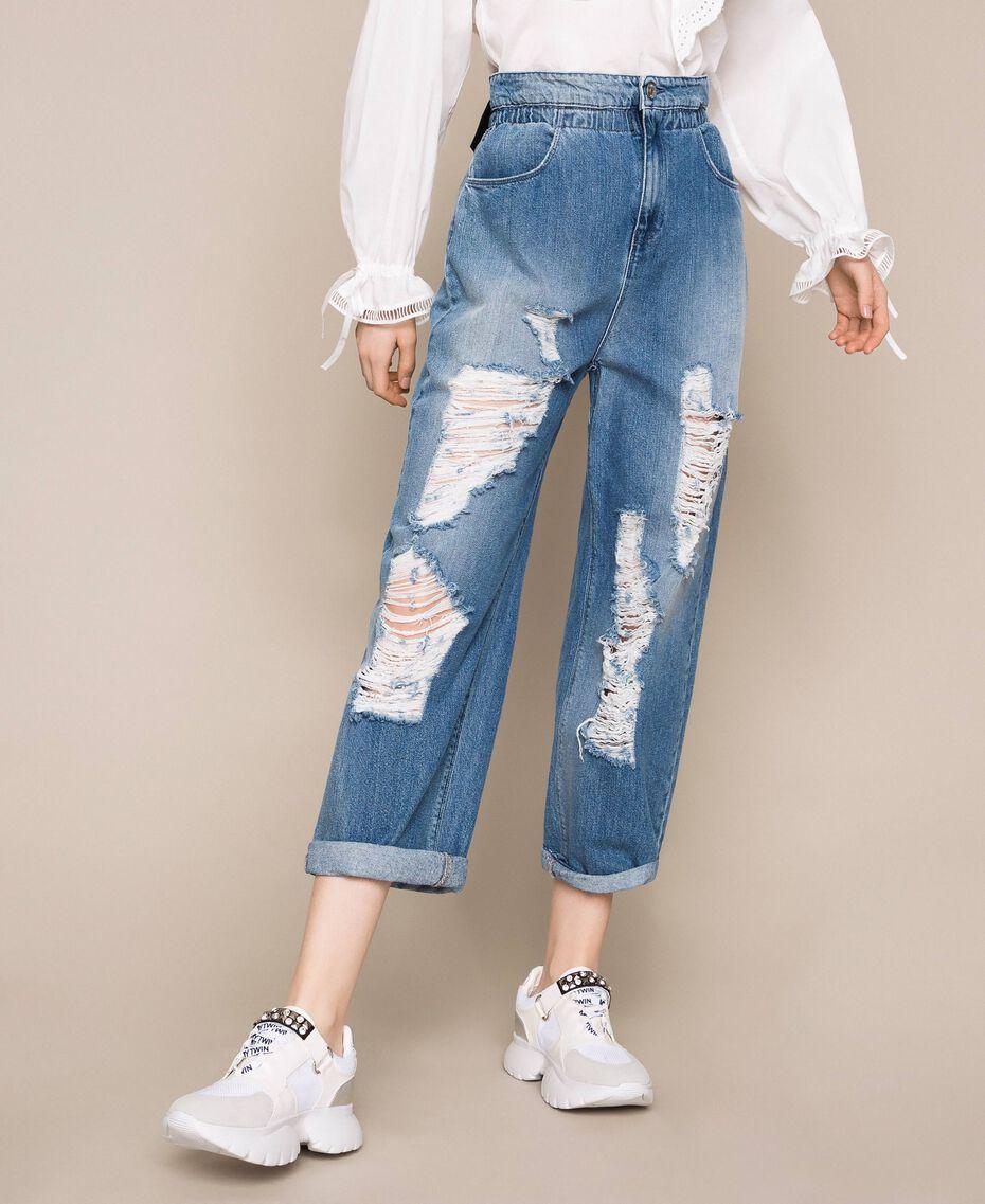 Jeans loose fit con rotture Denim Blue Donna 201MT2344-01