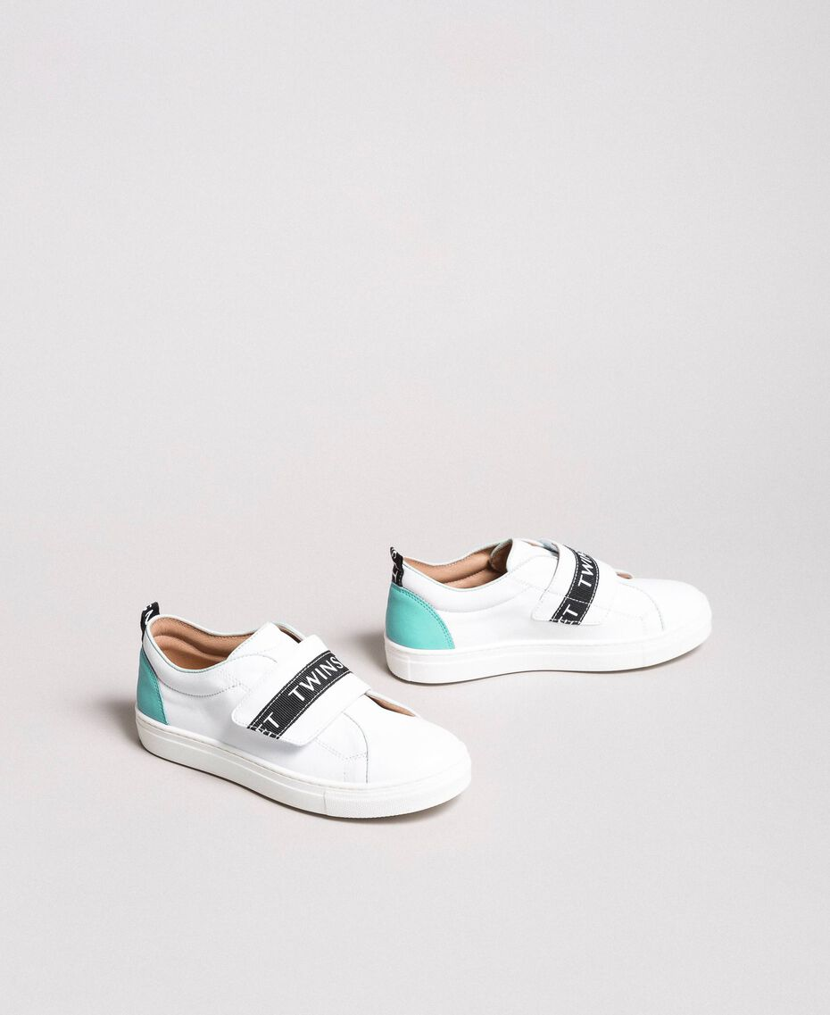 """Leather sneakers with logo """"Island Paradise"""" Light Blue Child 191GCJ034-01"""