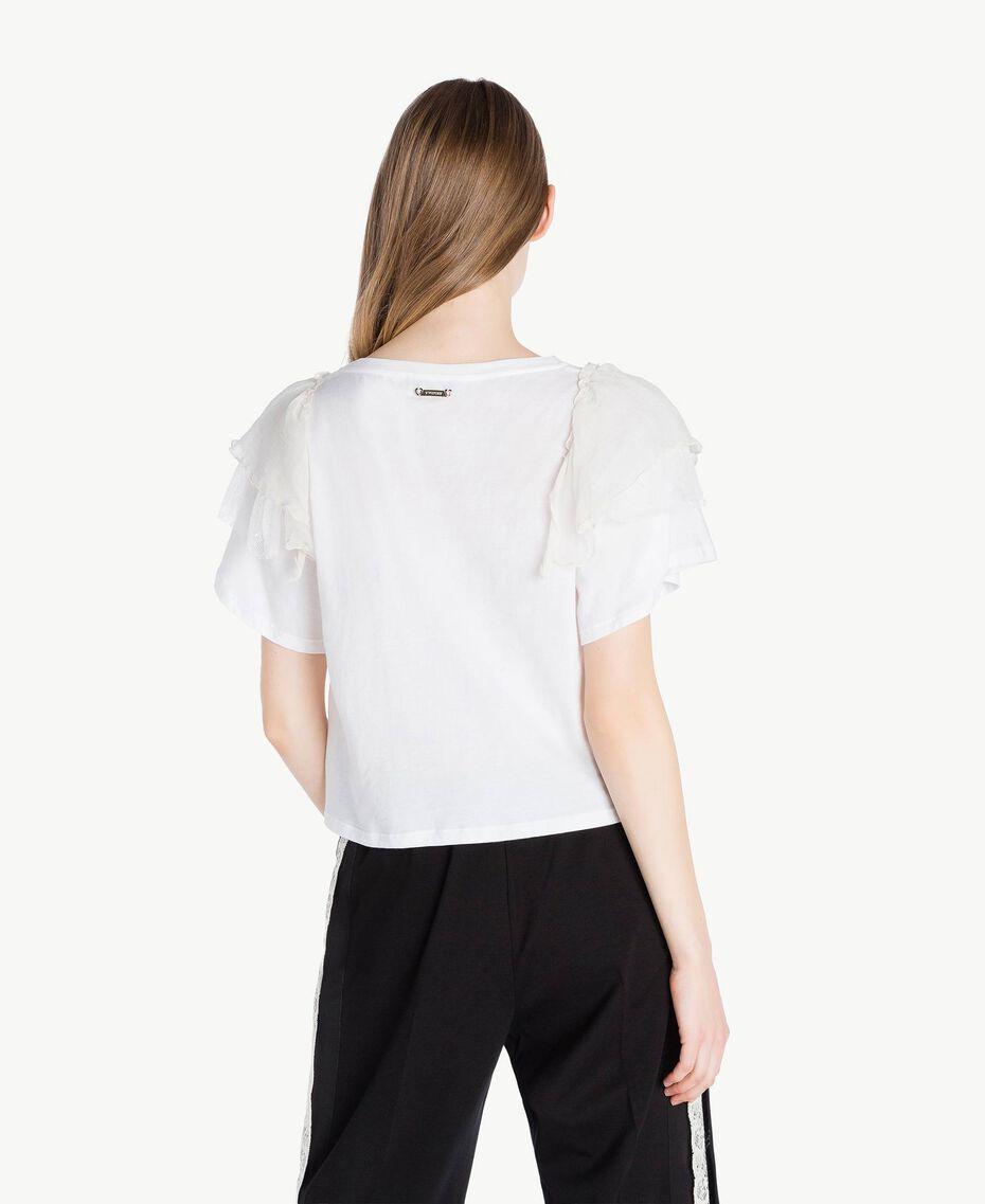 T-shirt volants Blanc Femme PS82UB-03