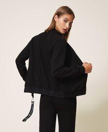 Scuba bomber jacket with logo Black Woman 202LI2JVV-03