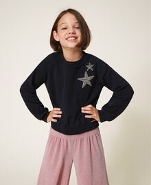 Sweatshirt with star embroidery Black Child 202GJ261B-01