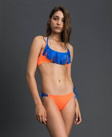 Bikini with fringes Fluorescent Orange / Fluorescent Blue Woman 191TQM024-0S