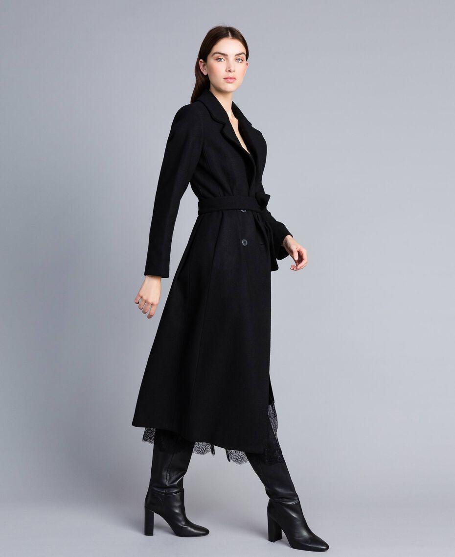 Langer, zweireihiger Mantel aus Tuch Schwarz Frau TA821L-02