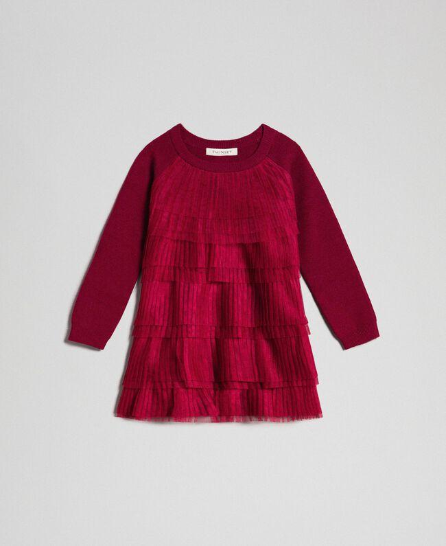 Robe avec volants en tulle plissé Rouge Ruby Wine Enfant 192GB3110-01